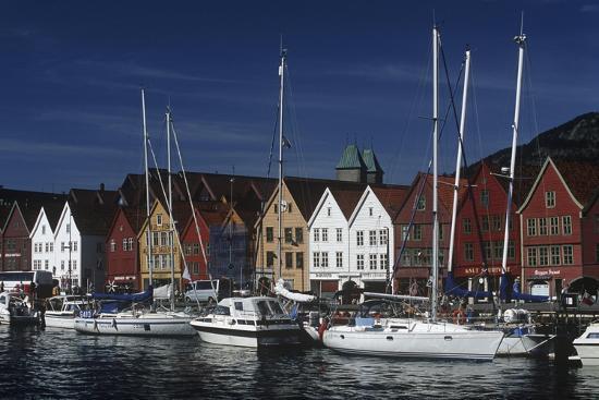 Norway, Bergen, Bryggen, Old Wharf, Tyskebryggen, German Wharf, Hanseatic Commercial Buildings--Giclee Print