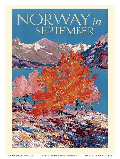 Norway in September - Fjord - Norwegian State Railways-Freda Lingstrom-Art Print