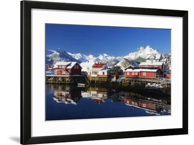 Norway, Lofoten, Reine, Houses, Water, Mountains-Dieter Meyrl-Framed Photographic Print