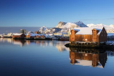 Norway, Lofoten, Reine, Houses, Water, Mountains-Dieter Meyrl-Photographic Print