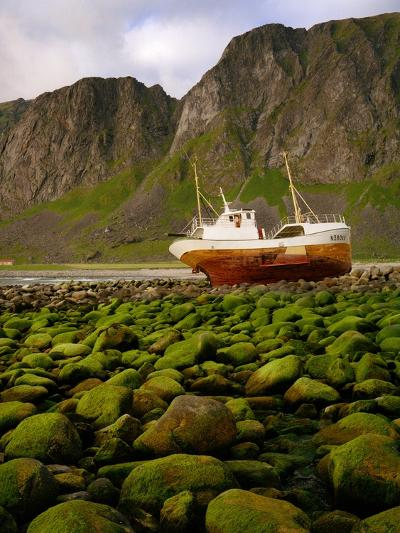 Norway/Lofoten: stranded trawler near Unstad-W^ Krecichwost-Photographic Print