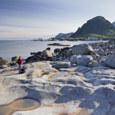 Norway, Nordland, Lofoten, Coast, Young Woman with Dog-Rainer Mirau-Photographic Print