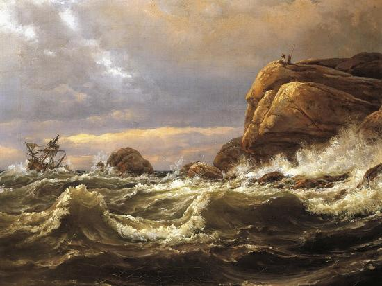 Norway, Painting of Very Rough Sea--Giclee Print