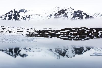 Norway, Svalbard, Monacobreen Glacier, Reflections of Mountains and Glacier-Ellen Goff-Photographic Print
