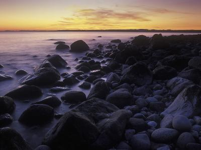 Norway, Telemark, the North Sea, Skagerag, Mšlen, Beach with Glacial Pebbles after Sunset-Andreas Keil-Photographic Print