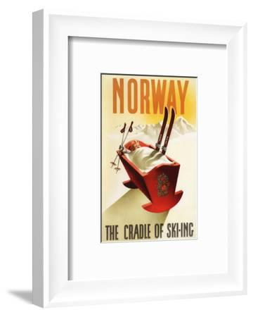 Norway - The Cradle of Skiing-Lantern Press-Framed Art Print