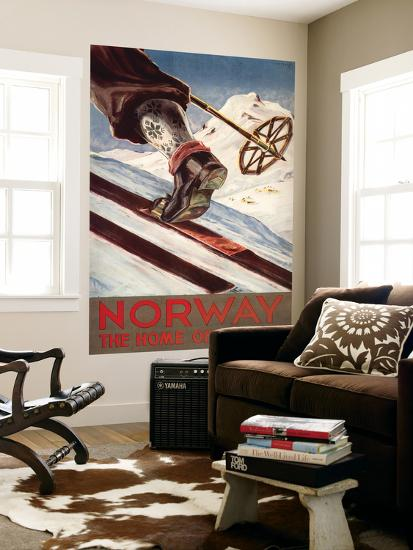 Norway - The Home of Skiing-Lantern Press-Wall Mural