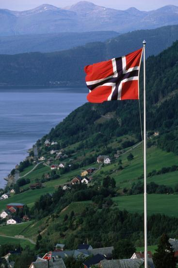 Norwegian Flag Flies above Valley-Paul Souders-Photographic Print