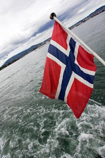 Norwegian Flag on a Boat-Felipe Rodríguez-Photographic Print
