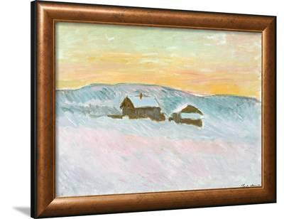 Norwegian Landscape, Blue Houses, 1895-Claude Monet-Framed Giclee Print