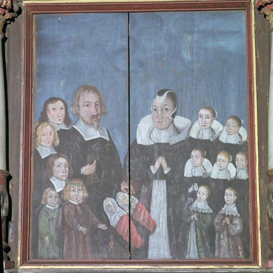 Norwegian painting showing a family with fourteen children, 17th century. Artist: Unknown-Unknown-Giclee Print