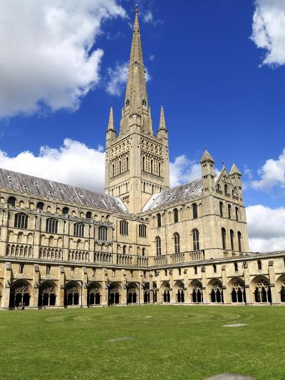 Norwich Cathedral Spire , Nave, Transept and Cloisters--Giclee Print