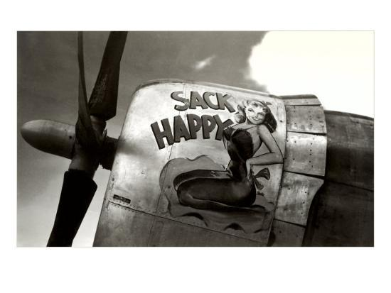Nose Art, Sack Happy Pin-Up--Art Print