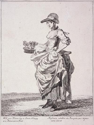 Nosegay and Memo Book Seller, Cries of London, 1760-Paul Sandby-Giclee Print