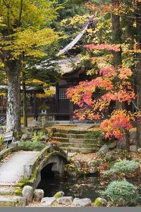 Japan Takayama Hokke-Ji Temple Garden with Stone Bridge Autumn by Nosnibor137