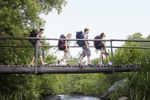 Teenage Boys and Girls with Backpacks Walking on Bridge in Forest by Nosnibor137