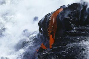 USA Hawaii Big Island Volcanos National Park Cooling Lava and Surf by Nosnibor137