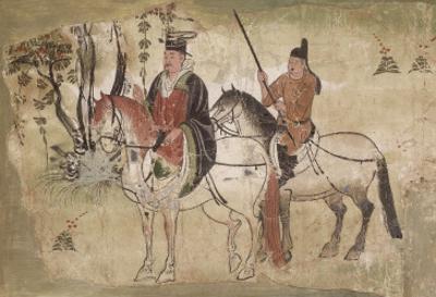 Notable suivi de son écuyer (fragment d'une scène de la vie du Bouddha)
