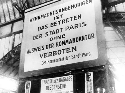 Notice in a Railway Station in German-Occupied Paris, 17 July 1940--Photographic Print
