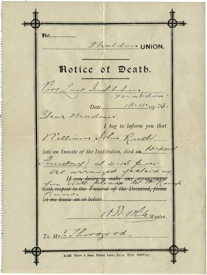 Notice of Death from Union Workhouse, Maldon, Essex-Peter Higginbotham-Photographic Print