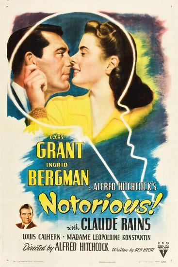 NOTORIOUS, Cary Grant, Ingrid Bergman, Claude Rains, 1946--Art Print