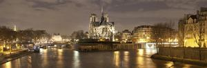 Notre Dame and Eiffel Tower at Dusk, Paris, Ile-De-France, France