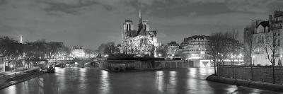 Notre Dame and Eiffel Tower at Dusk, Paris, Ile-De-France, France--Photographic Print