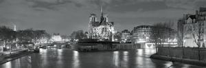 Notre Dame and Eiffel Tower at Dusk, Paris, Ile-De-France, France