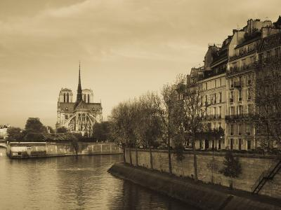 Notre Dame Cathedral and Ile St-Louis Buildings, Paris, France-Walter Bibikow-Photographic Print