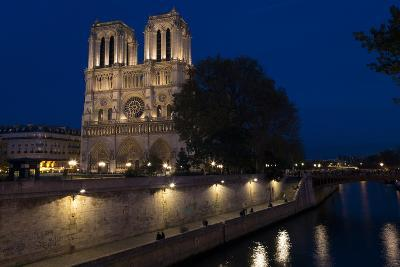 Notre Dame Cathedral and River Seine at Night, Paris, France, Europe-Peter Barritt-Photographic Print