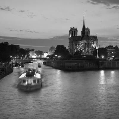 Notre Dame Cathedral and River Seine, Paris, France-Jon Arnold-Photographic Print