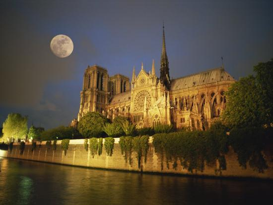 Notre Dame Cathedral at Night, with Moon Rising Above, Paris, France, Europe-Howell Michael-Photographic Print