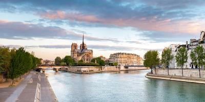 Notre Dame Cathedral on the Banks of the Seine River at Sunrise, Paris, Ile-De-France, France--Photographic Print