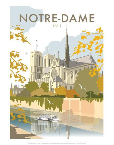Notre Dame - Dave Thompson Contemporary Travel Print-Dave Thompson-Art Print