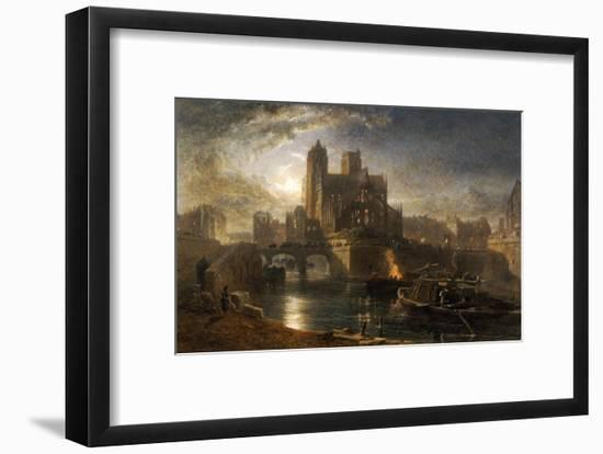 Notre Dame, Paris, from the Left Bank by Moonlight, 1864-Edward Angelo Goodall-Framed Giclee Print
