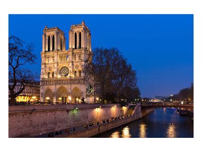 Notre Dame River Seine at Dusk--Art Print