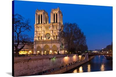 Notre Dame River Seine at Dusk--Stretched Canvas Print