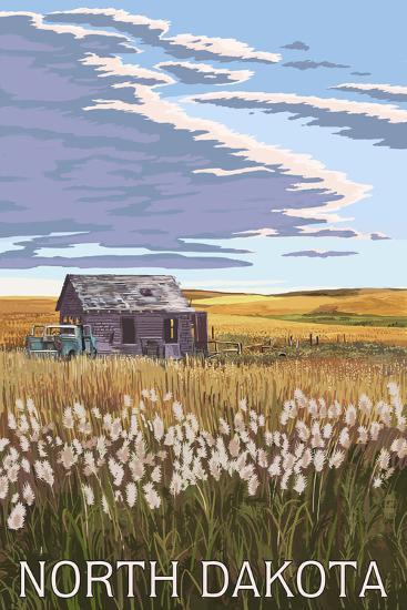 Nouth Dakota - Wheat Field and Shack-Lantern Press-Wall Mural
