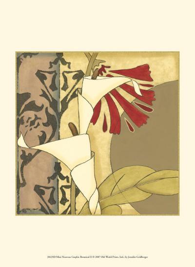 Nouveau Graphic Botanical II-Jennifer Goldberger-Art Print
