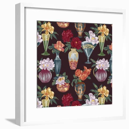 Nouveau Vases Espresso-Bill Jackson-Framed Giclee Print