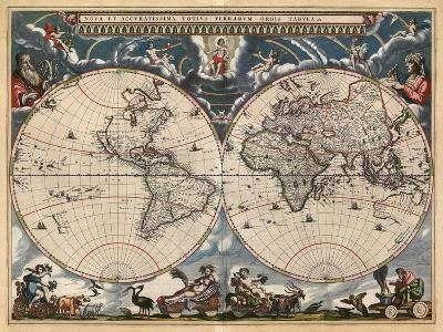Nova et Accuratissima Totius Terrarum Orbis Tabula-Joan Blaeu-Art Print