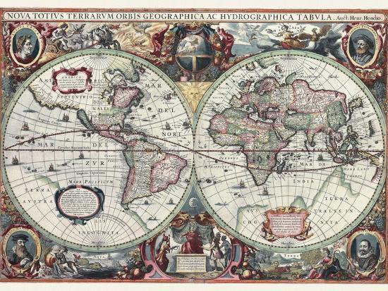 Nova Totius Terrarum Orbis Tabula-Hendrik Hondius-Premium Giclee Print