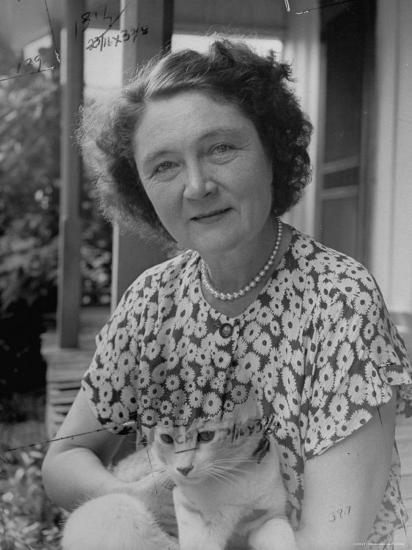 Novelist Marjorie K. Rawlings Holding Her Cat-Nina Leen-Premium Photographic Print
