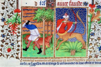November: Feeding Pigs, and Sagittarius, C1423--Giclee Print