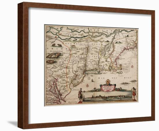 Novi Belgi Novaeque Angliae [New Netherland and New England], 1682-Nicolaes the Younger Visscher-Framed Premium Giclee Print