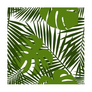 Palm Leaf and Monstera Silhouettes Seamless Pattern by novichok