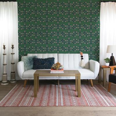 Block Print Floral Emerald Self-Adhesive Wallpaper by Novogratz
