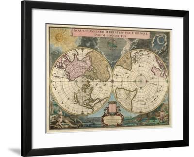 Novus Planiglobii Terrestre Per Utrumque Polum Conspectus 1709-Gerardum Valck-Framed Giclee Print