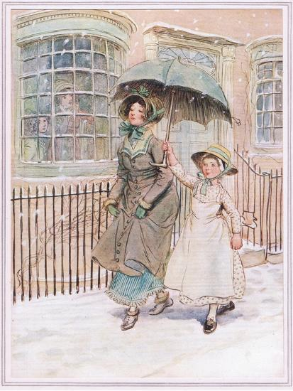 Now and Then Ladies Pass in their Pattens-Hugh Thomson-Giclee Print