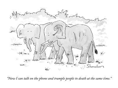 """""""Now I can talk on the phone and trample people to death at the same time.?"""" - New Yorker Cartoon-Danny Shanahan-Premium Giclee Print"""